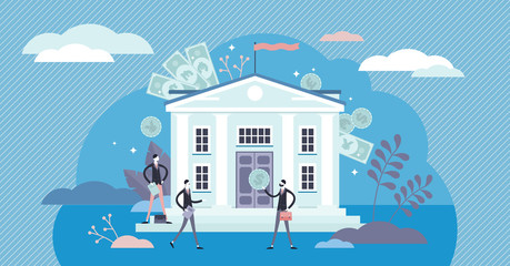 Bank concept, flat tiny persons vector illustration