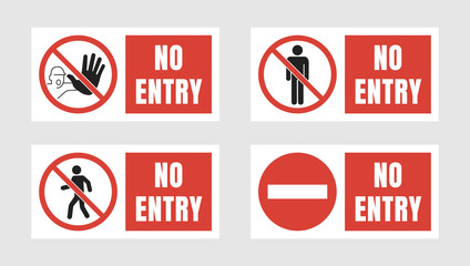 no entry sign set, no people allowed labels and stickers Fototapete