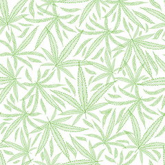 Green outline cannabis leaves textural background. Seamless vector pattern against white backdrop. Hand drawn line art repeat design. Perfect for wellness, health, medical products, packaging, print