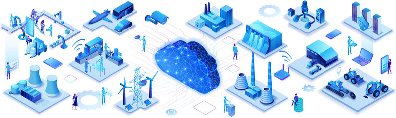 Industrial internet of things infographic horizontal banner, blue neon concept with factory, electric power station, cloud 3d isometric icon, smart transport system, mining machines, data protection Fotobehang
