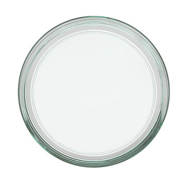 Clear Empty Transparent Glass Petri Dish. 3D Render Isolated on White Background.