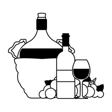 bottle of wine in wicker basket on white background