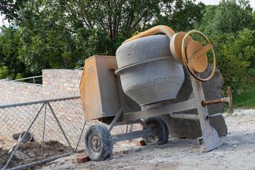 Concrete mixer on a building site.