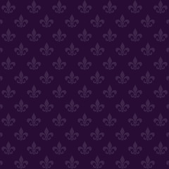 Seamless background with a staggered heraldic Lily on a noble purple background. Mardi Gras Carnival. Vector illustration isolated for design and web.