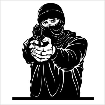 Terrorist with gun - Gangster with Gun. Ghetto Warriors. Vector illustration isolated on white