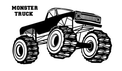 Monochrome monster truck, logo, badge. Vector illustration