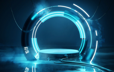 Empty Blue neon futuristic lighting stage and platform, product placement 3D illustration. Wall mural