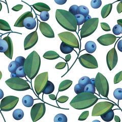 Berries and leaves of bilberry seamless pattern isolated on white background. Natural fresh organic summer pattern. Garden texture. 3d rendering with watercolor painting of blueberry branches.