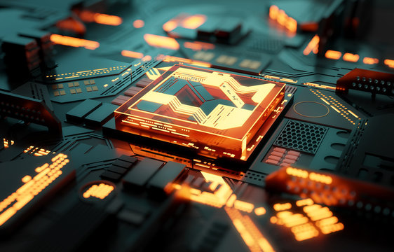 Futuristic CPU processor and machine learning concept. 3D illustration