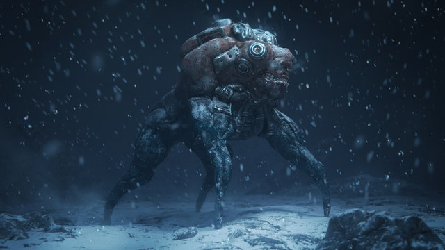 3d illustration of a cyberpunk scary monster spider standing on snowy ground with falling snow in the night scene. Futuristic post apocalypse mutant in metal armor. Concept art sci- fi alien character