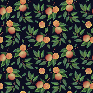 Orange branches with fruits seamless pattern on dark background. Natural fresh organic summer pattern. Garden, tropical texture. 3d rendering with watercolor painting of oranges, madarines and leaves
