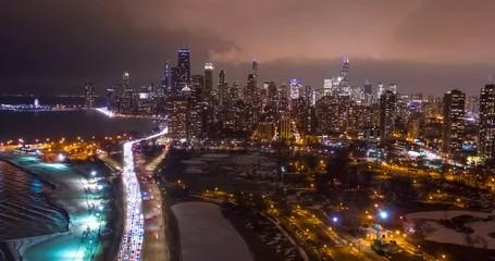 Fototapete - Chicago downtown buildings aerial timelapse hyperlapse