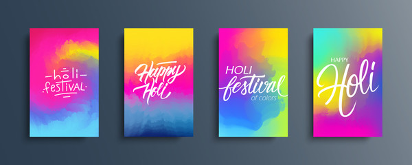Happy Holi celebrate cards set. Abstract color gradient pattern backgrounds with hand lettering holiday greetings. Indian spring festival of colors collection. Vector illustration.