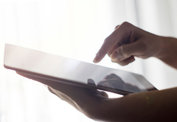 Using digital tablet, Office stock photo, Human Hand