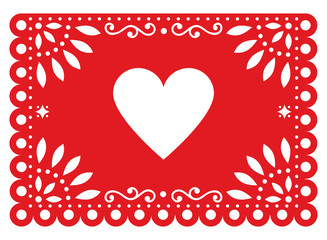 Papel Picado vector design for Valentine's Day with heart shape, red Mexican paper cut out decoration with flowers and geometric shapes - greeting card or invitation