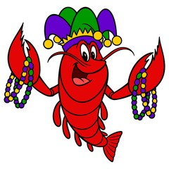 Mardi Gras Crawfish - A cartoon illustration of a Mardi Gras Crawfish.
