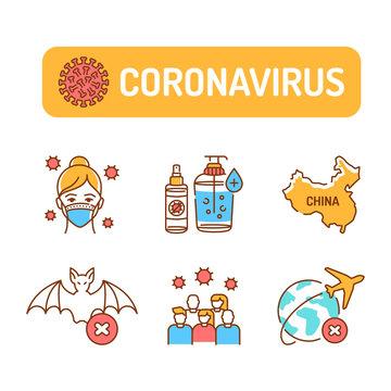 Wuhan Novel coronavirus 2019-nCoV color line icons set. Dangerous chinese virus. Pictogram for web page, mobile app, promo. UI UX GUI design element. Editable stroke
