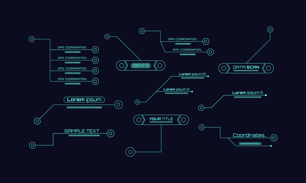 Set of HUD futuristic sci fi frame template. Digital callouts titles. Layout element for web, brochure, advertising, infographics and video production. Interface elements HUD, UI, GUI.