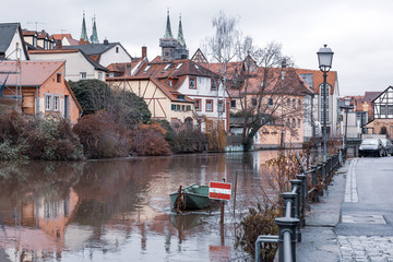 Wall Mural - Scenic view of Old town over the Regnitz river in winter day in Bamberg, Bavaria, Upper Franconia, Germany