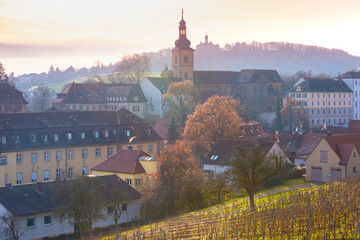 Wall Mural - Scenic view of Old town of Bamberg, with church and vineyard at sunset, Bavaria, Upper Franconia, southern Germany