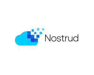 Abstract pixel cloud logo icon design modern digital style illustration. Motion pixel flow vector emblem sign symbol mark logotype