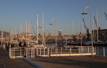 """GENOA, ITALY, JANUARY 23, 2020 - View of """"Ancient Port"""" (Porto Antico) area in Genoa, Italy."""
