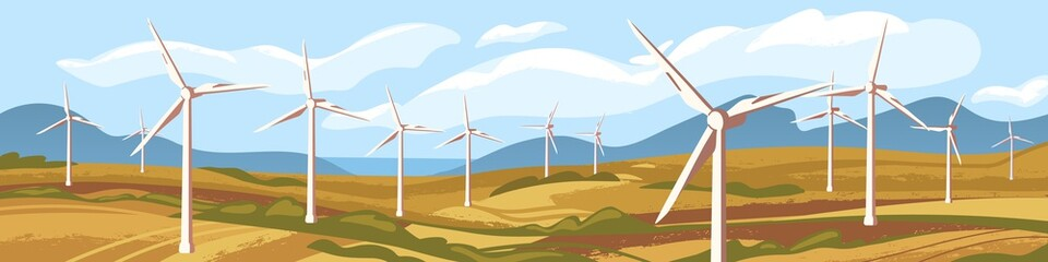 Fotorolgordijn Blauwe hemel Autumn natural landscape with windmills vector graphic illustration. Nature scenery sea, mountain, field with wind energetic turbines. Concept of ecological alternative energy and environment saving