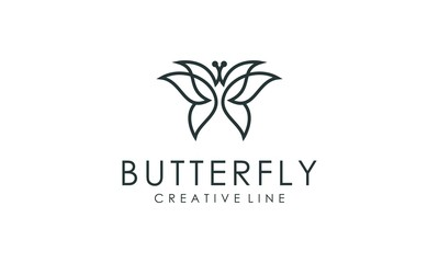 Amazing butterfly logo outline vector