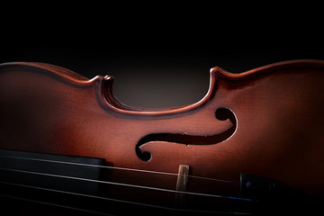 Violin body and strings detail with dark background