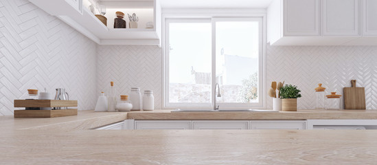 Wooden top on background of modern kitchen with window and shelves.-3D illustration.