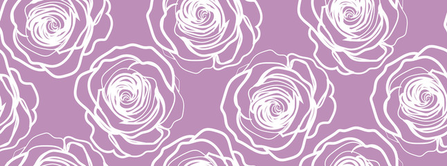 Roses in purple background - seamless pattern.