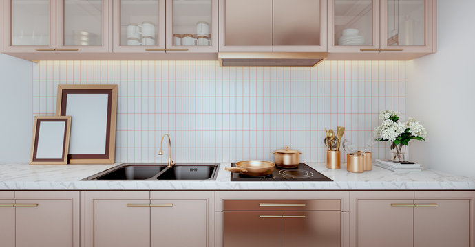 Rose gold color kitchen interior with a tiled wall,white countertops.A close up.3d rendering mock up