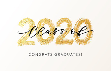 Class of 2020. Modern calligraphy. Vector illustration. Hand drawn brush lettering Graduation logo. Template for graduation design, party, high school or college graduate, yearbook. Fotobehang