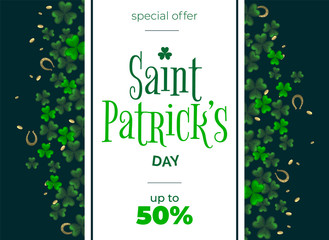 St. Patrick day vector background with clover. Irish holiday Saint Patrick Day. Wall mural