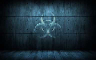 Grunge industrial background with biohazard symbol. Dark room with concrete slab walls with bio hazard sign. 3d illustration. Creative design backdrop