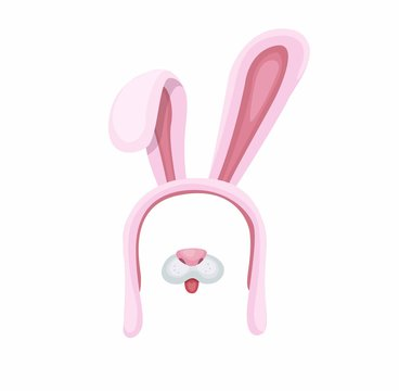 pink bunny hat with nose. rabbit mask assets for photo decoration cartoon flat illustration vector isolated in white background