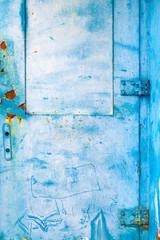 Wall Mural - Blue grunge weathered metal door
