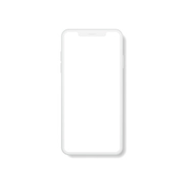 Modern smartphone with blank screen. Smartphone display mockup. Mockup vector isolated. Template design. Realistic vector illustration.