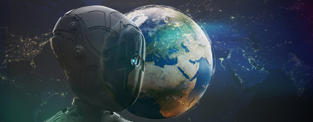 humanoid robot artificial intelligence and world globe planet earth 3d-illustration. elements of this image furnished by NASA