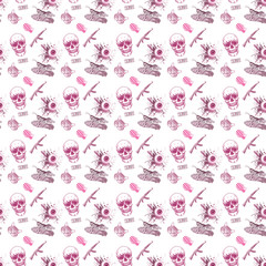pattern background with skull and guns