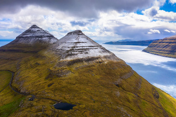 Wall Mural - Aerial view of the Bordoyarnes mountain near Klaksvik on Faroe Islands