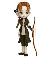 Cute toon Wood Elf archer girl with bow and arrows, 3d digitally rendered illustration