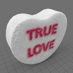 Heart candy with true love message