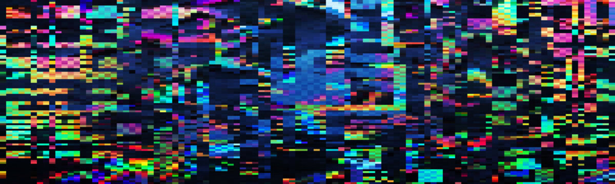 Abstract background with glitch effect. Particles move in space.
