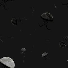 Seamless moon jellyfish pattern
