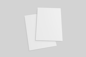 Blank postcard, flyer and pamphlet for mock up, 3d render illustration.