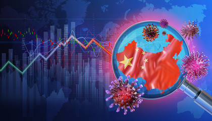 China economy background with coronavirus, flag, downtrend charts of financial instruments, display of daily stock exchange market price data, quotations. Chinese ncov corona virus pandemic 3D concept