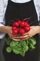 Poster de jardin Legume woman holding fresh radish in hands