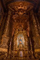 """Altar view inside """"Nossa Senhora do Porto de Ave"""" Sanctuary, Povoa de Lanhoso, Portugal."""