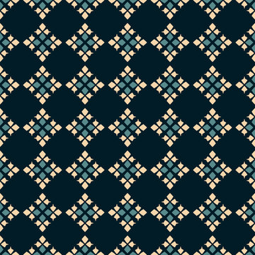 Traditional folk ornament. Vector geometric seamless pattern. Tribal ethnic motif background. Ornamental texture with rhombuses, flower shapes, diamonds. Green, black and beige colors. Repeat design